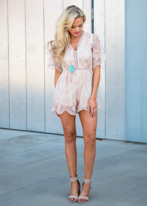 Sheer Floral Lace Shorts Romper Nude