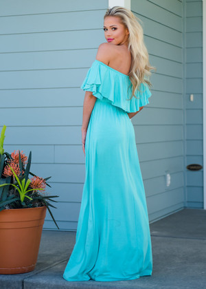 Need You Now Ruffle Top Maxi Dress Mint