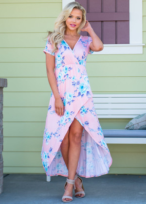 I Feel Spoiled Floral High Low Dress Blush