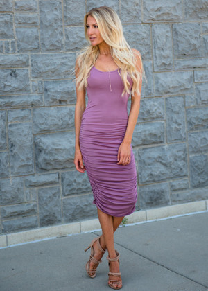 Essential Midi Tank Ruched Bodycon Dress Dark Mauve
