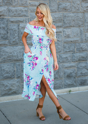 Made For Me Floral Ruffle Dress Light Blue