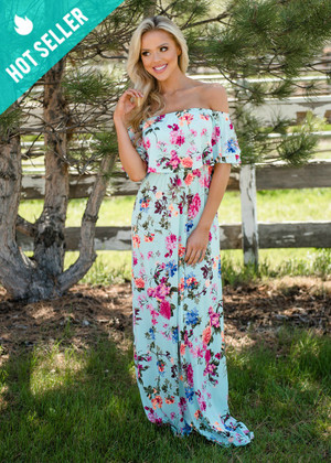 Let Love Grow Floral Ruffled Off Shoulder Maxi Mint CLEARANCE