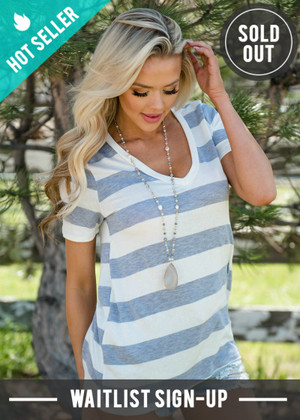 Keep Me Casual Striped Basic Top Gray/Ivory