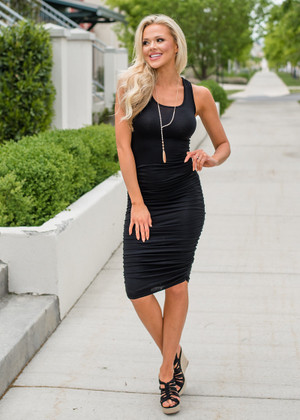 Essential Midi Tank Ruched Bodycon Dress Black