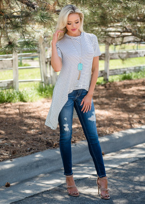 Trend Setter Striped Hi-Lo Top Ivory