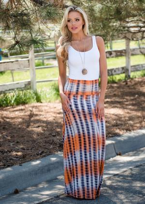 Tie Dye Ombre Maxi Skirt Orange