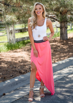 One Sided Asymmetrical High Low Skirt Pink