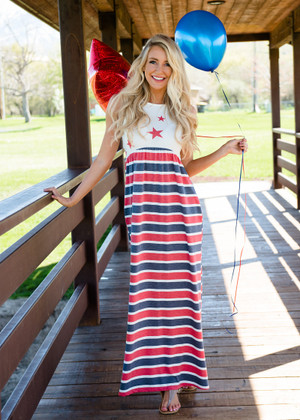 Red Stars on Top Stripes on Bottom Pocket Maxi Dress