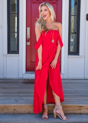 Flowy Smocked High Low Dress Red