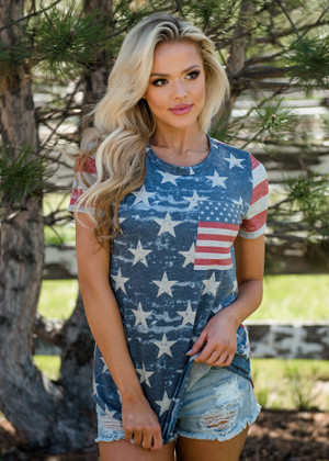 Stars and Pocket in Front Stripes in Back Faded Tee CLEARANCE