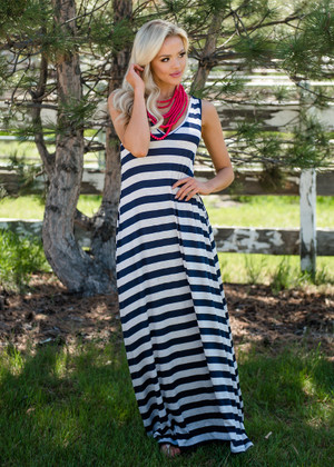 Striped Independence Pocket Maxi Dress Navy/Oat