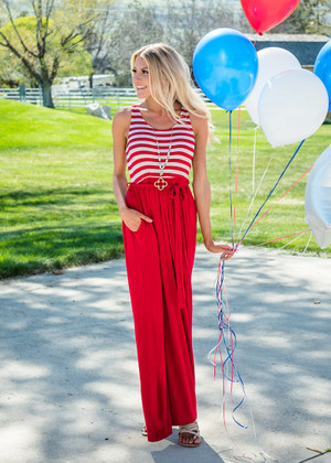 Ready for the Fourth Striped Tie Maxi Red