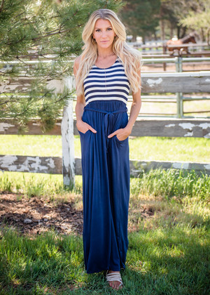 Ready for the Fourth Striped Tie Maxi Blue