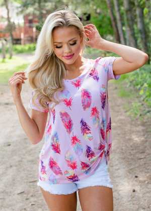 Full of Bright Feathers Twisty Knot Top Pink