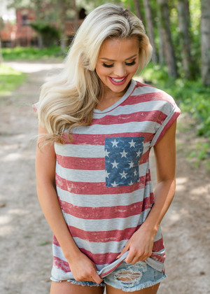 Lady Liberty Faded Flag Top