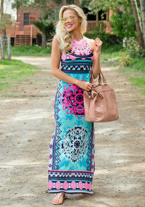 By The Seaside Halter Jade Maxi Dress CLEARANCE