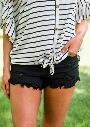 Make It Happen Button Up Distressed Shorts Black