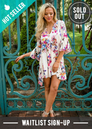 Heart Skipped a Beat Floral Tunic Dress Ivory