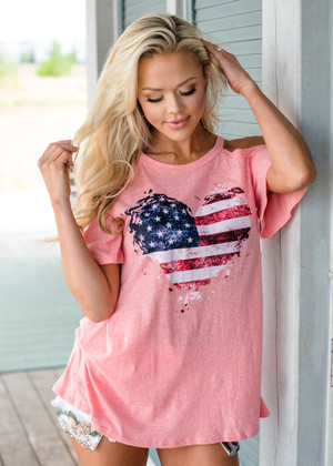 Heart of America Cutout Shoulder Top Peach