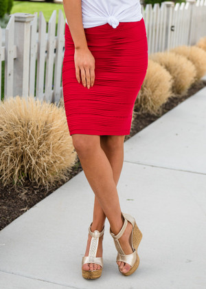 State of Perfection Scrunchy Pencil Skirt Red