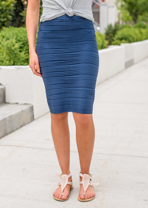 State of Perfection Scrunchy Pencil Skirt Navy
