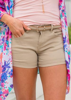 Summer Time Belted Shorts Khaki