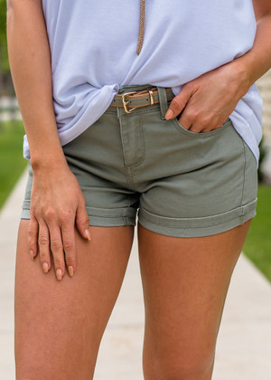 Summer Time Belted Shorts Olive CLEARANCE