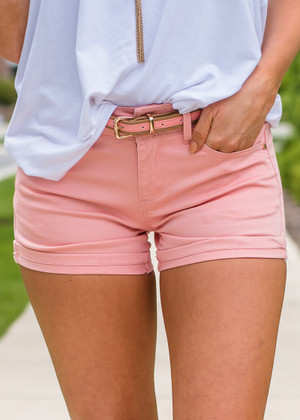 Summer Time Belted Shorts Dk Blush