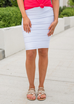 State Of Perfection Scrunchy Pencil Skirt White