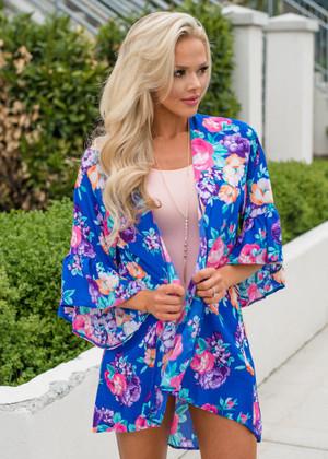 Floral Ruffle Sheer Kimono Royal Blue CLEARANCE
