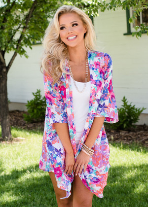 Colorful and Bright Floral Kimono Ivory