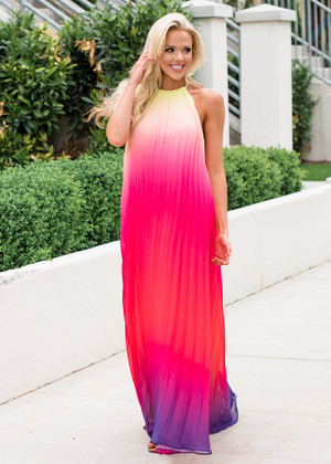 Sunrise Ombre Pleated Maxi Dress Pink CLEARANCE