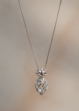 Pineapple Locket Cage Sterling Silver Pendant