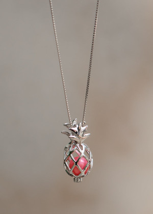 Pineapple Locket Cage Sterling Silver Necklace  - LIVE PEARL OPENING