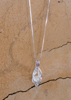 Twisted  Waterdrop Cage Sterling Silver Necklace - LIVE PEARL OPENING