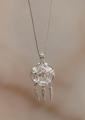 Dream Catcher Cage Pendant Sterling Silver