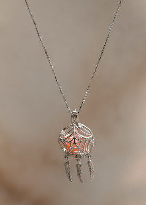 Dream Catcher Cage Sterling Silver Necklace - LIVE PEARL OPENING