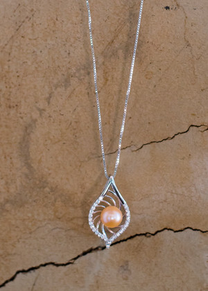 Bling Leaf Sterling Silver Necklace - LIVE PEARL OPENING