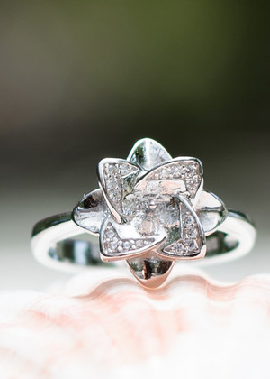 Petite Elegant Flower Sterling Silver Ring Setting (Pearl NOT Included)