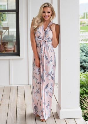 Flattering in Floral Twist Front Maxi Dress Detail Blush