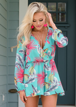 Meet Me in Maui Floral Shorts Romper Jade
