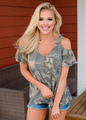 Camo Cold Shoulder Ruffle Tie Top