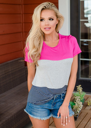 Basic Color Block Striped Top Hot Pink