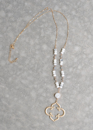 Pearl Beaded Mixed Antique Style Necklace White
