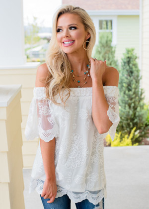 Lace Scalloped Off Shoulder Top Cream CLEARANCE