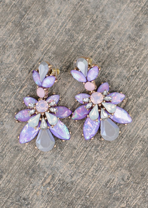 Floral Chandelier Dangle Earrings Purple/Lavender