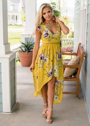 Floral Print Trimmed Lace High Low Dress Pale Mustard