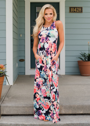 Fully Beautiful Floral Pocket Maxi Dress