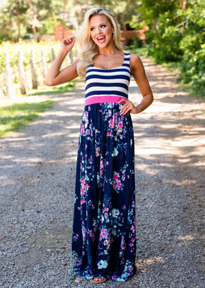 Made in Heaven Striped Floral Maxi Dress Navy