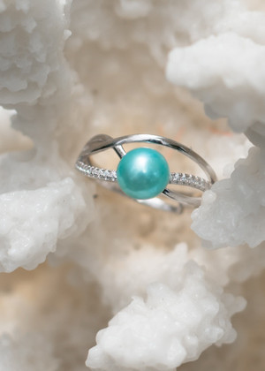 Infinity Swirl Sterling Silver Ring - LIVE PEARL OPENING
